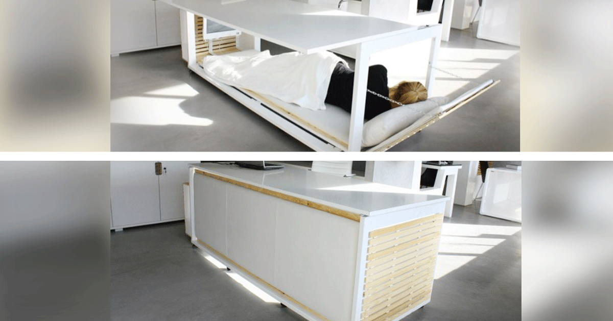 this desk turns into a bed so you can sleep at work omgfacts. Black Bedroom Furniture Sets. Home Design Ideas